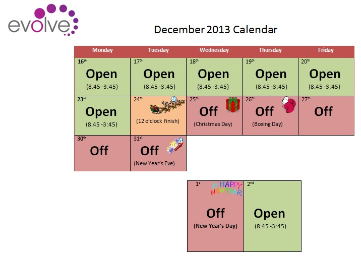 Chritmas and New Year Opening Times